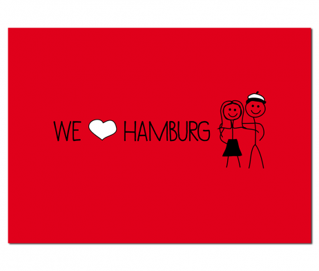 postkarte we love hamburg von elbkram. Black Bedroom Furniture Sets. Home Design Ideas
