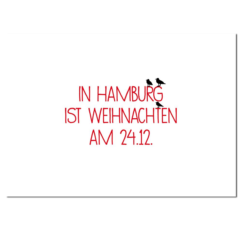 Postkarte Weihnachten in Hamburg
