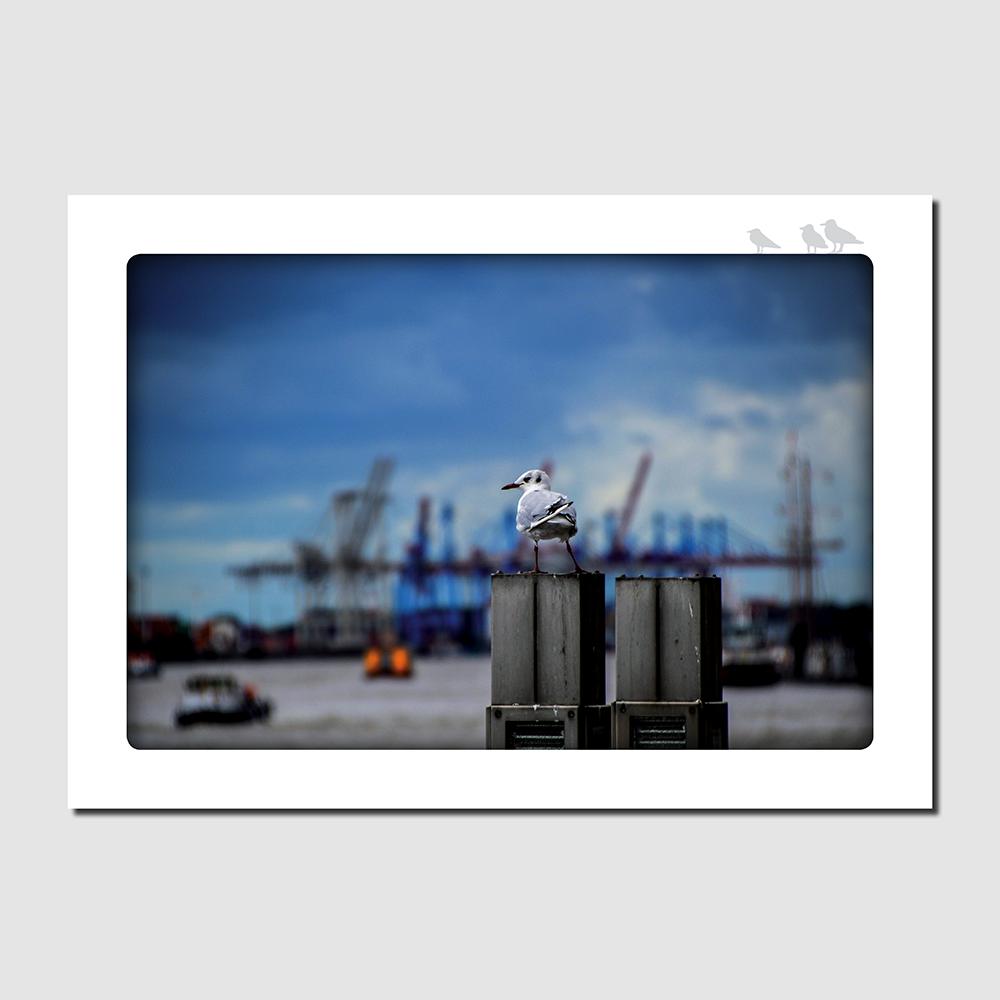 Postkarte Wartend in Hamburg